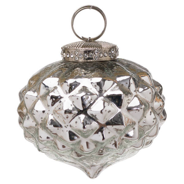 The Noel Collection Mercury Textured Small Hanging Bauble - Cosy Home Interiors