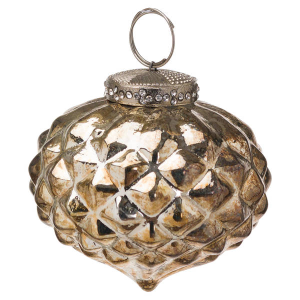 The Noel Collection Burnished Textured Small Hanging Bauble - Cosy Home Interiors