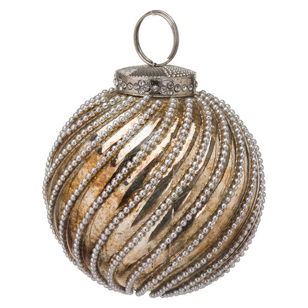 The Noel Collection Burnished Jewel Swirl Large Bauble - Cosy Home Interiors