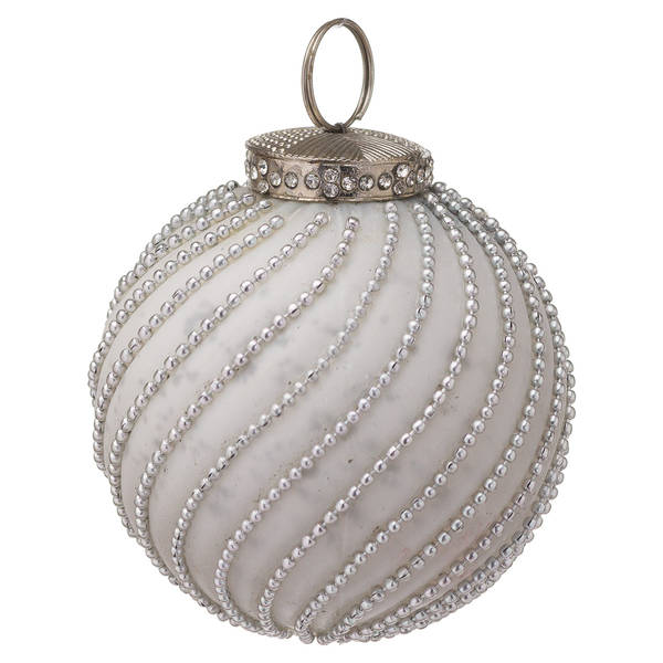 The Noel Collection White Jewel Swirl Large Bauble - Cosy Home Interiors
