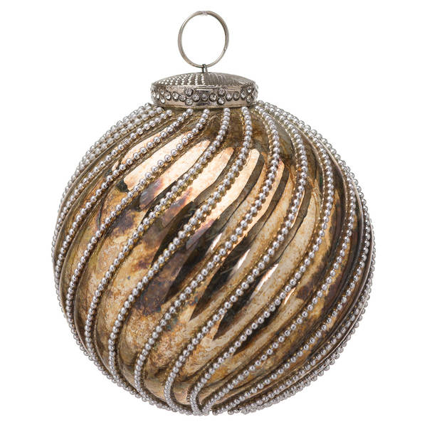 The Noel Collection Burnished Jewel Swirl Small Bauble - Cosy Home Interiors
