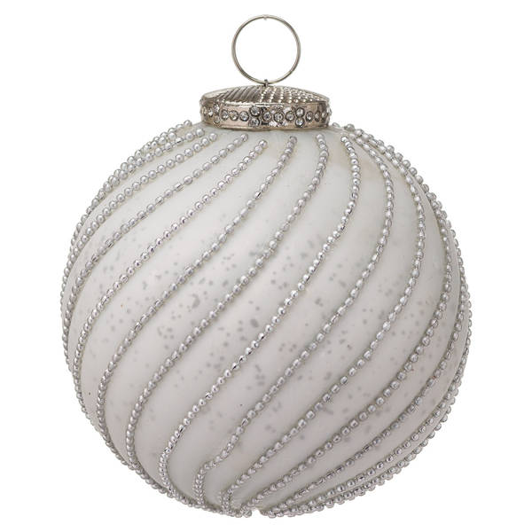 The Noel Collection White Jewel Swirl Small Bauble - Cosy Home Interiors