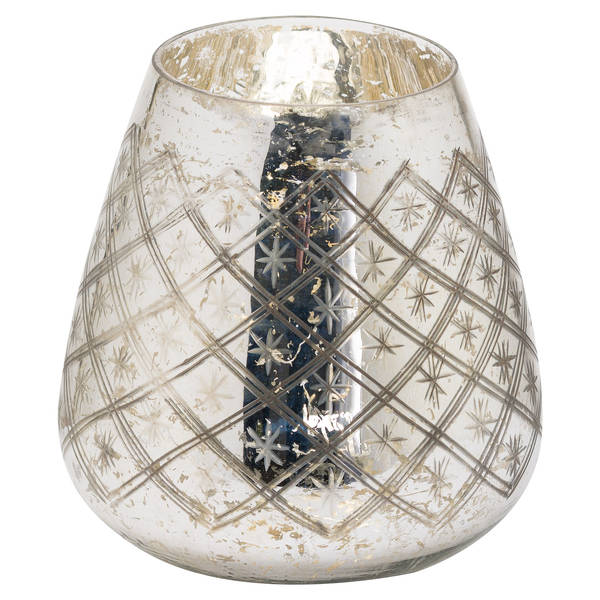 The Noel Collection Etched Mercury Candle Holder Large - Cosy Home Interiors