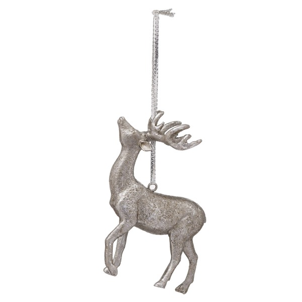 Hanging Silver Stag Decoration - Cosy Home Interiors