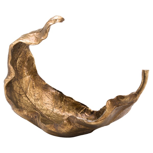 Large Gold Curled Leaf Sculpture - Cosy Home Interiors