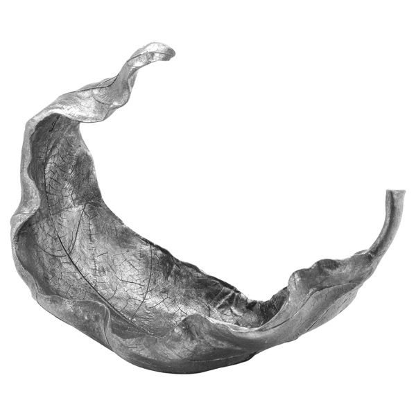 Large Silver Curled Leaf Sculpture - Cosy Home Interiors