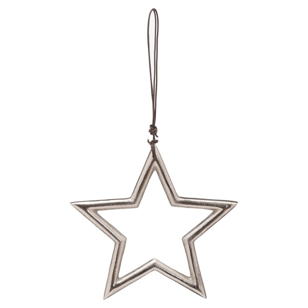 The Noel Collection Hanging Small Silver Star - Cosy Home Interiors