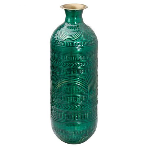 Aztec Collection Brass Embossed Ceramic Dipped Lebes Vase - Cosy Home Interiors