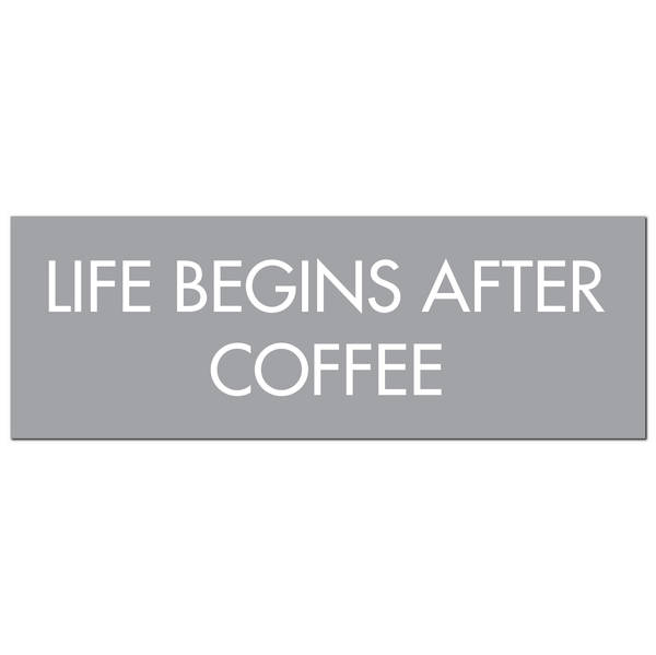 Life Begins After Coffee Silver Foil Plaque - Cosy Home Interiors