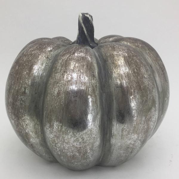 Large Squat Silver Foil Pumpkin - Cosy Home Interiors