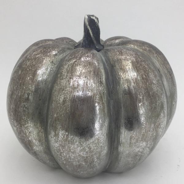 Large Silver Foil Pumpkin - Cosy Home Interiors