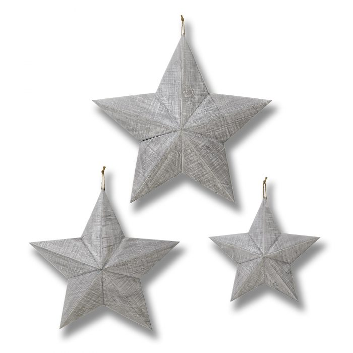Set of Three Grey Wooden Stars - Cosy Home Interiors