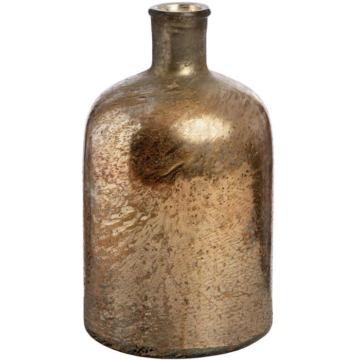 Rose Gold Metallic Lustre Glass Bottle Vase - Cosy Home Interiors