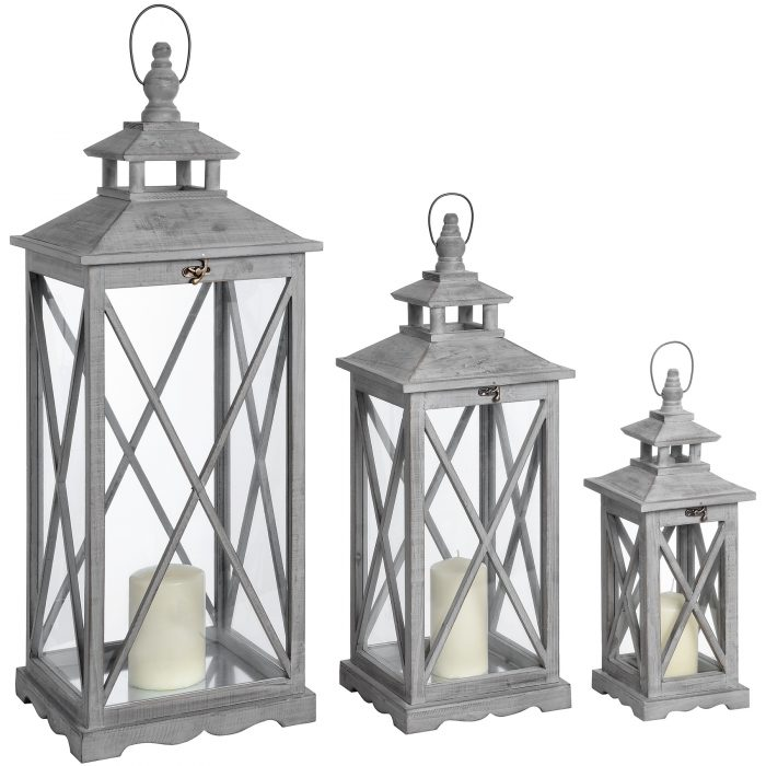 Set Of Three Wooden Lanterns With Traditional Cross Section - Cosy Home Interiors