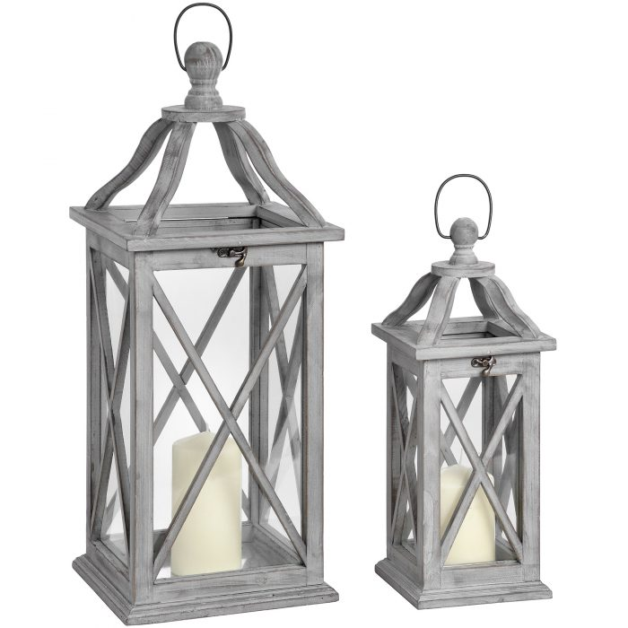 Set Of Two Grey Cross Section Lanterns With Open Tops - Cosy Home Interiors