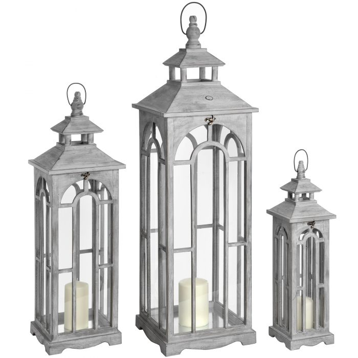 Set Of Three Wooden Lanterns With Archway Design - Cosy Home Interiors