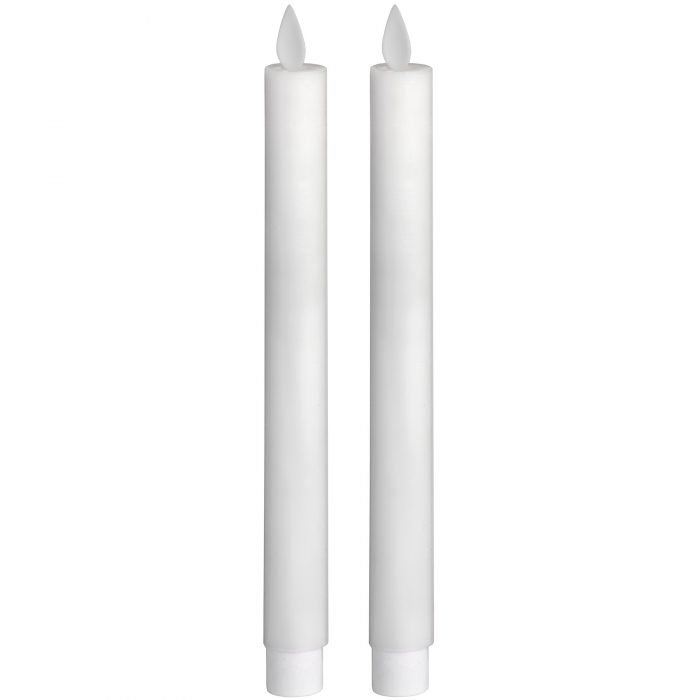 Pair Of White Luxe Flickering Flame LED Wax Dinner Candles - Cosy Home Interiors