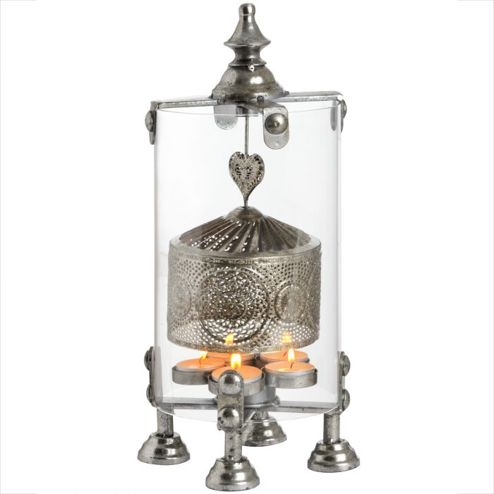 Antique Silver Heart Lantern Spinner - Cosy Home Interiors