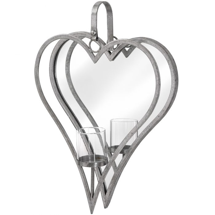 Large Antique Silver Mirrored Heart Candle Holder - Cosy Home Interiors