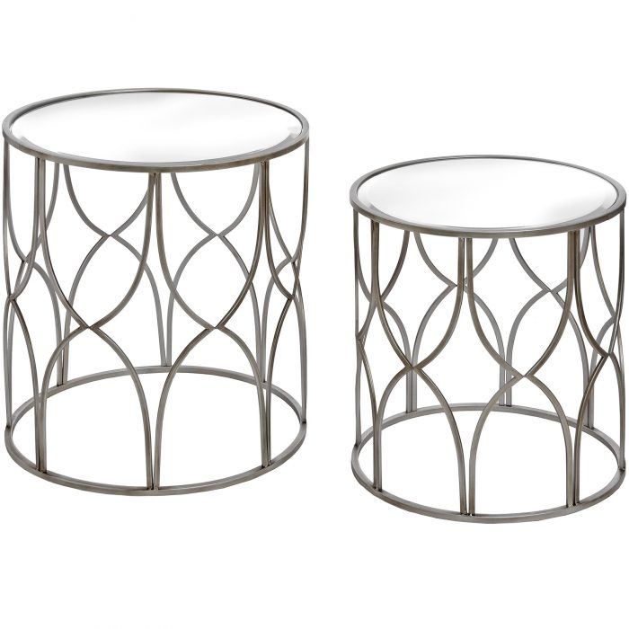 Set Of Two Lattice Detail Silver Side Table - Cosy Home Interiors
