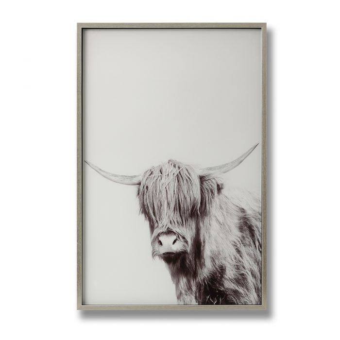 Highland Cow Left Facing Glass Image with Silver Frame - Cosy Home Interiors
