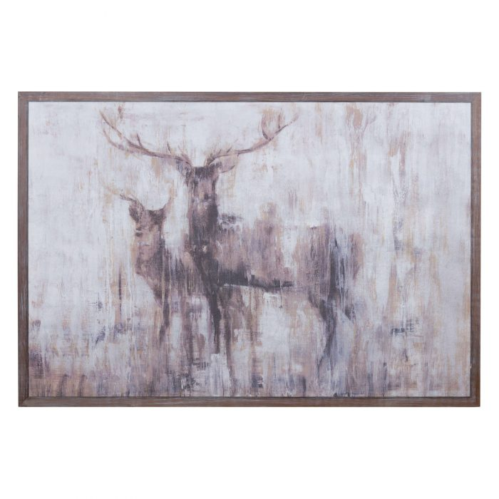 Stags In The Wilderness On Cement Board With Wooden Frame - Cosy Home Interiors