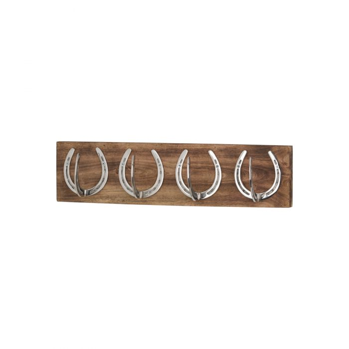Four Nickel Horse Shoe Hooks On Wooden Board - Cosy Home Interiors