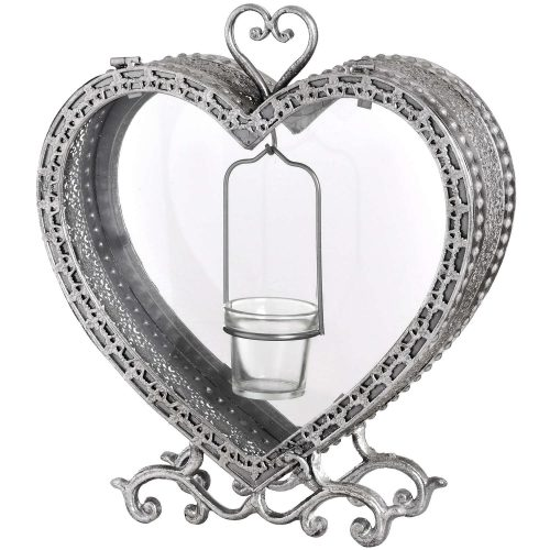 Free Standing Heart Tealight Lantern in Antique Silver - Cosy Home Interiors
