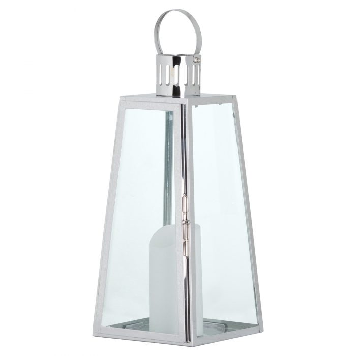 Large Stainless Steel Lighthouse Lantern With Wax Flickering Flame Candle - Cosy Home Interiors