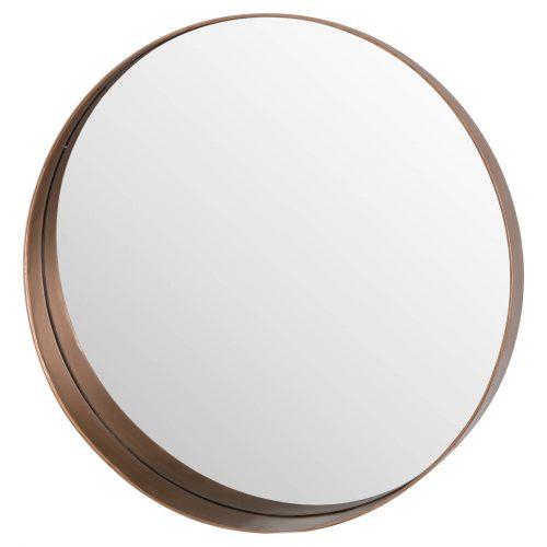 Circular Copper Finish Mirror With Protruding Edge - Cosy Home Interiors