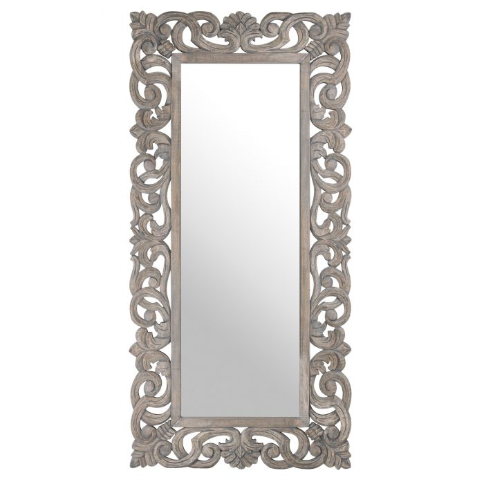Colonial Grey Painted Hand Carved Hard Wood Mirror - Cosy Home Interiors