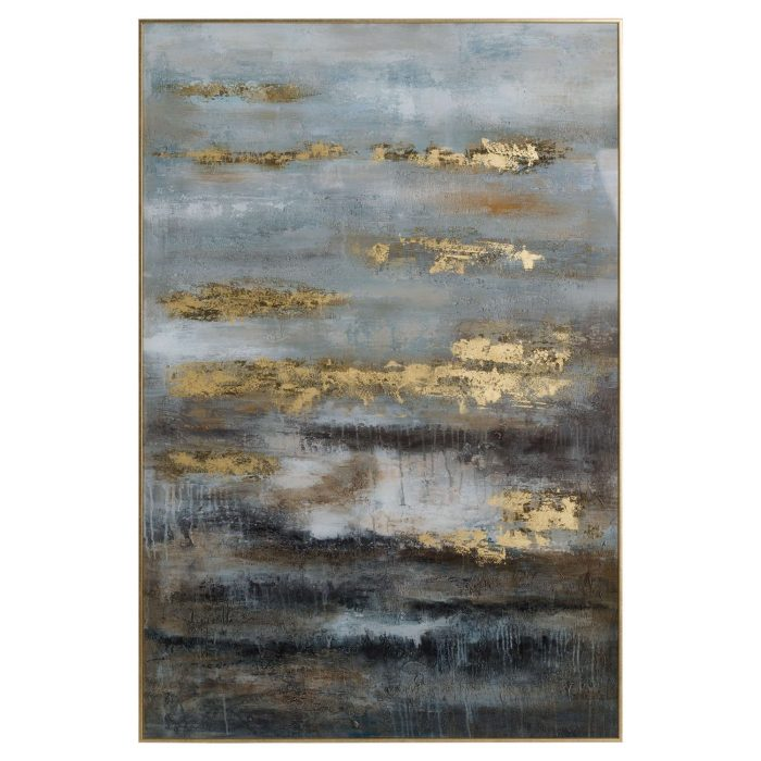 Large Abstract Grey And Gold Glass Image With Gold Frame - Cosy Home Interiors