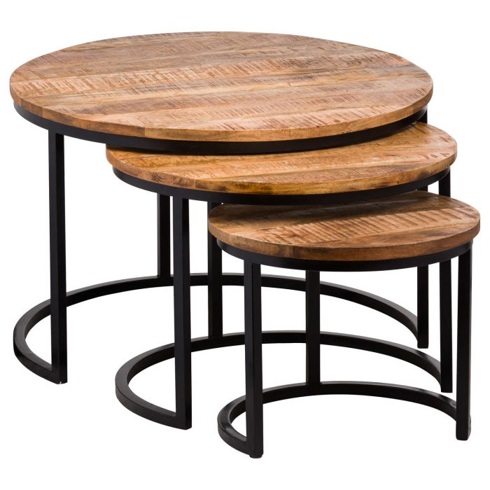 Set Of Three Industrial Tables - Cosy Home Interiors