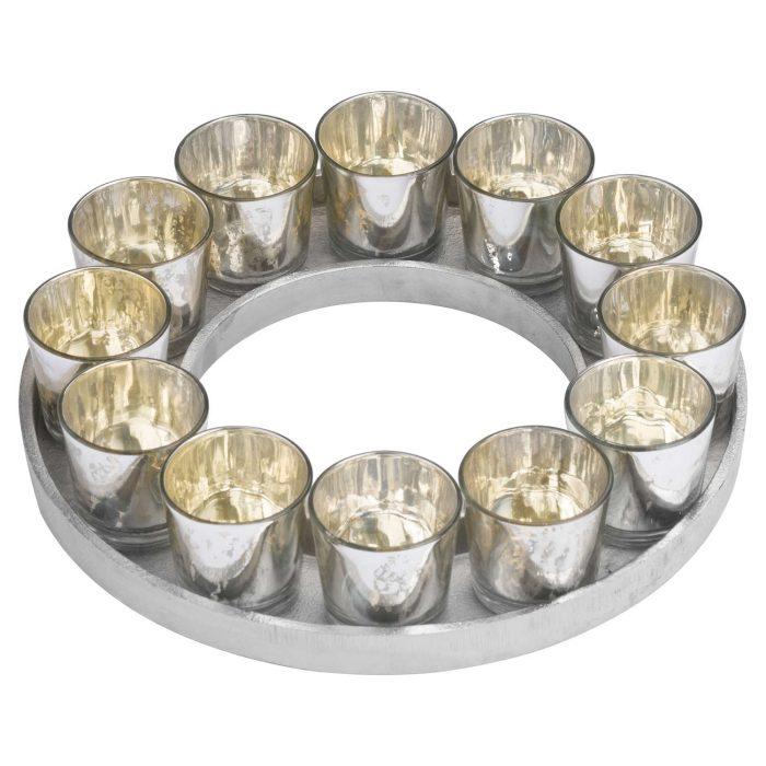 Circular Cast Aluminium Tray With Silver Glass Votives - Cosy Home Interiors