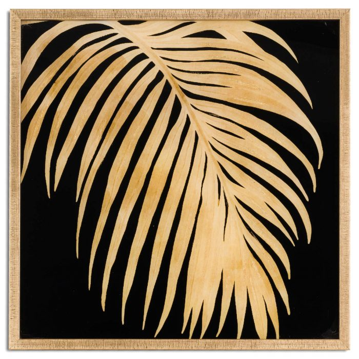 Metallic Palm Glass Image In Gold Frame - Cosy Home Interiors