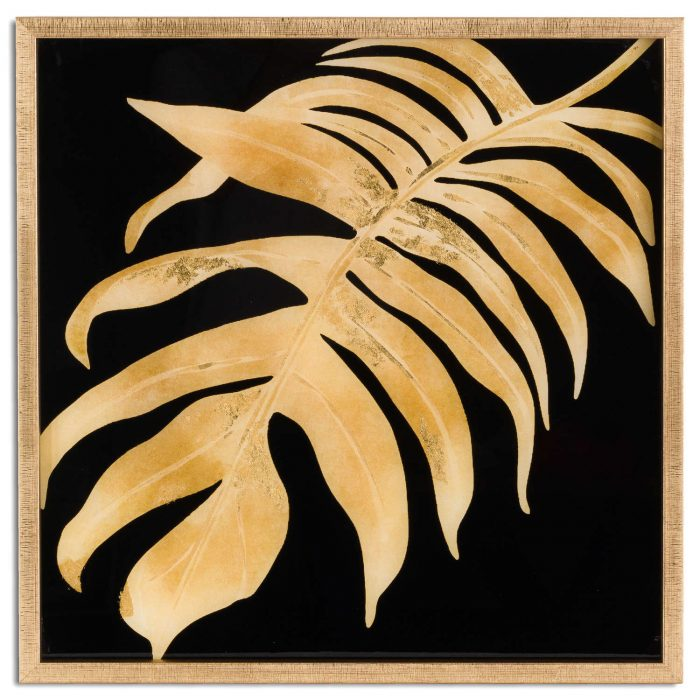Metallic Leaf Glass Image In Gold Frame - Cosy Home Interiors