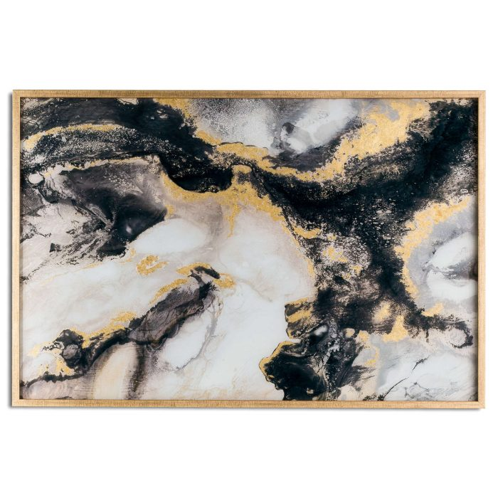 Marble Effect Black And Gold Glass Image In Gold Frame - Cosy Home Interiors