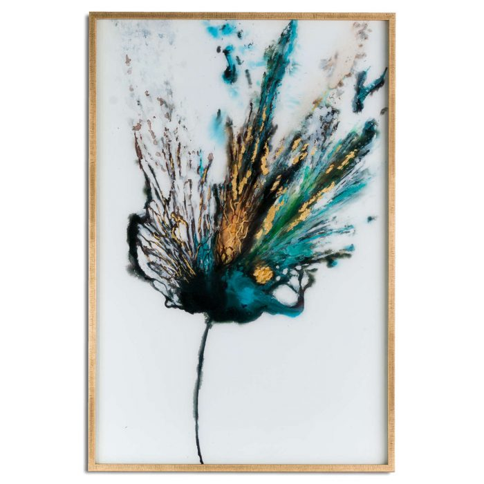 Large Floral Colour Explosion Glass Image In Gold Frame - Cosy Home Interiors