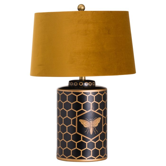 Harlow Bee Table Lamp With Mustard Shade - Cosy Home Interiors