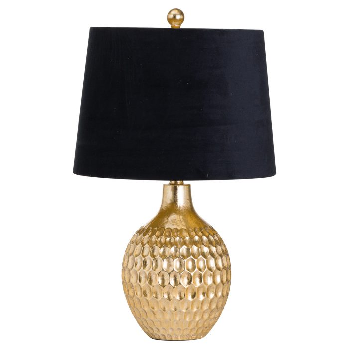Vincent Gold Base Table Lamp With Black Velvet Shade - Cosy Home Interiors