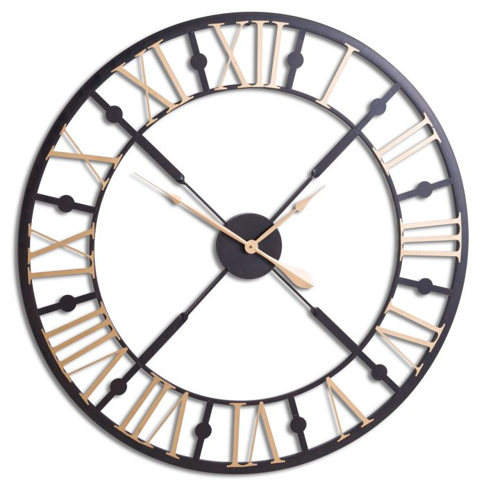 Black And Gold Skeleton Clock - Cosy Home Interiors