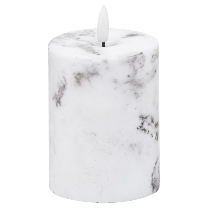 Luxe Collection Natural Glow 3x4 Marble Effect LED Candle - Cosy Home Interiors