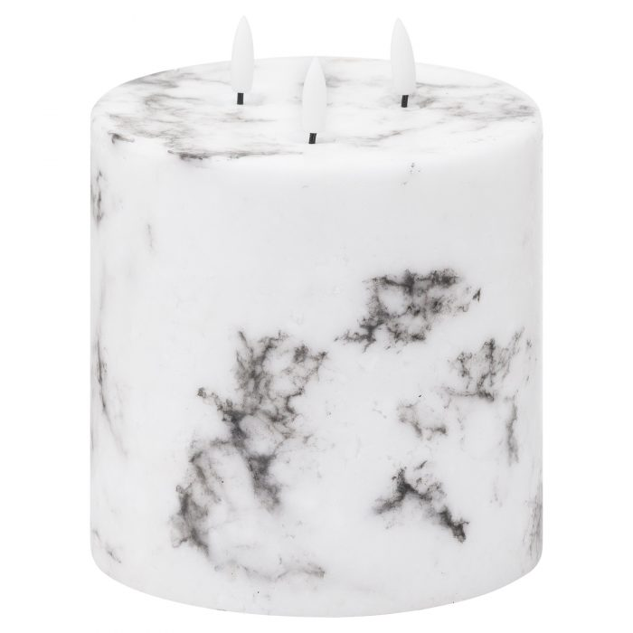 Luxe Collection Natural Glow 6x6 Marble Effect LED Candle - Cosy Home Interiors