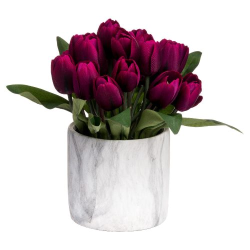 Purple Tulips In Marble Pot - Cosy Home Interiors