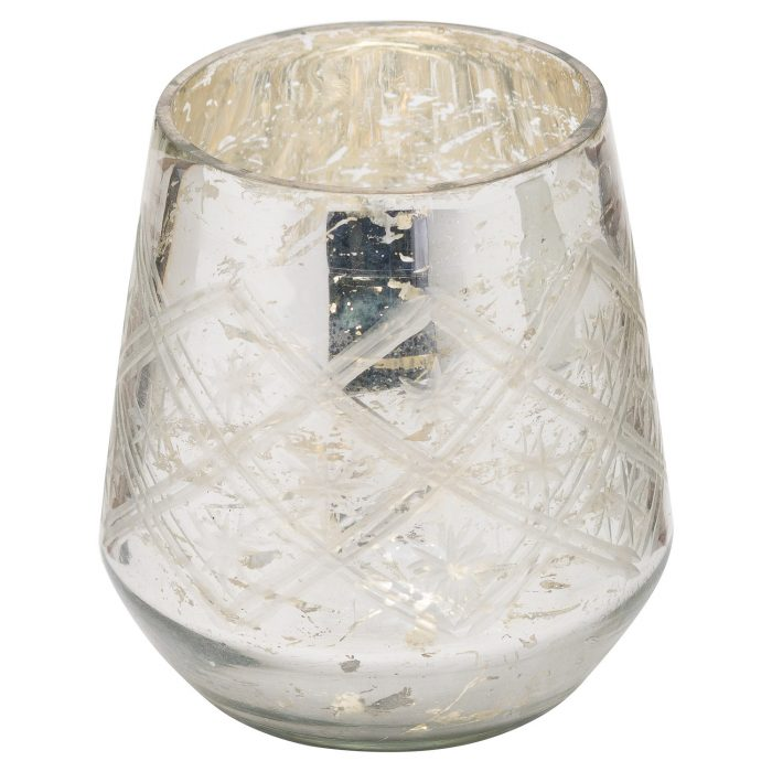 The Noel Collection Silver Foil Effect Tealight Holder - Cosy Home Interiors