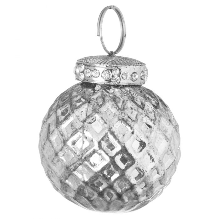 The Noel Collection Silver Small Honeycombe Bauble - Cosy Home Interiors