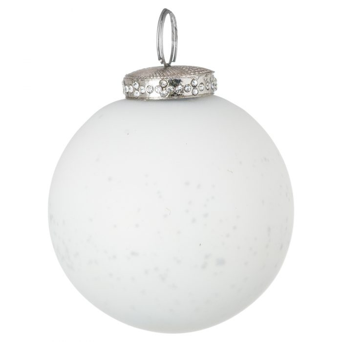 The Noel Collection White Crackled Bauble - Cosy Home Interiors