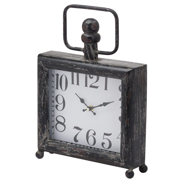 Dark Distressed Square Mantel Clock - Cosy Home Interiors