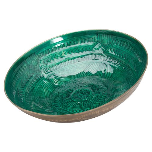 Aztec Collection Brass Embossed Ceramic Large Bowl - Cosy Home Interiors