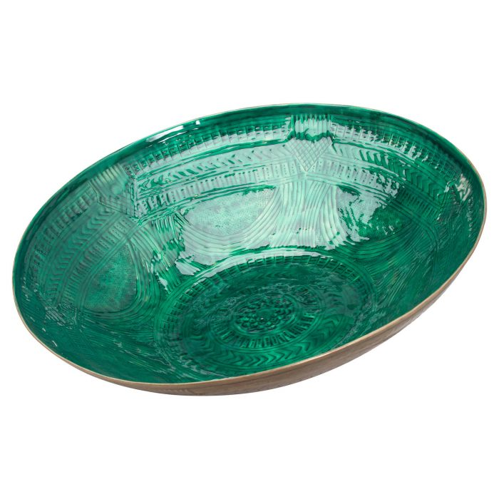 Aztec Collection Brass Embossed Ceramic Dipped Bowl - Cosy Home Interiors